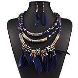 GYJUN Set di gioielli Tasselli Pelle Ali / Piume Nero Rosso Blu 1 collana 1 paio di orecchini PerMatrimonio Feste Occasioni speciali Halloween , blue