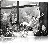 Pixxprint weihnachtlich dekoriertes Fensterbrett Kunst Kohle Effekt, Format: 80x60 auf Leinwand, XXL riesige Bilder fertig gerahmt mit Keilrahmen, Kunstdruck auf Wandbild mit Rahmen.