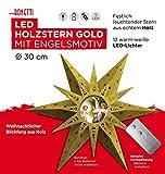 Dekorativer LED Stern aus Holz / mit Gold-Glitzer / mit 12 LED beleuchtet / Ø 30 cm / Engel Motiv / kabellos / mit Fernbedienung / Fensterstern Weihnachtsstern Holzstern Weihnachtsdekoration