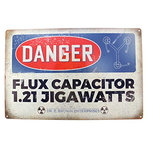 BACK TO THE FUTURE: DANGER FLUX CAPACITOR Metal Sign by Arcane Store