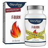 GloryFeel F-BURN Quemagrasas potente - Fat-Burner 120 pastillas para adelgazar muy rápido - Supresor de apetito vegano - Té y café verde + extracto de guaraná - Sin aditivos hecho en Alemania
