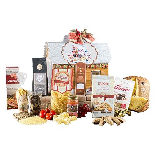 Sapori di casa - cesto natalizio con panettone artigianale, cioccolato e prodotti tipici di natale