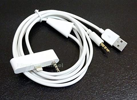 Y-Audiokabel für das iPhone 5, 5C und 5S , USB AUX IN AUTO DOCK 3,5mm Klinke Adapter Dock Connector Kabel Ladekabel Datenkabel Audiokabel Autoradio Line Out Sync- u. Ladeaudiokabel für iPhone 5, iPhone 5s, iPhone 5c, iPod Touch 7G in (Bmw Ipod Video)