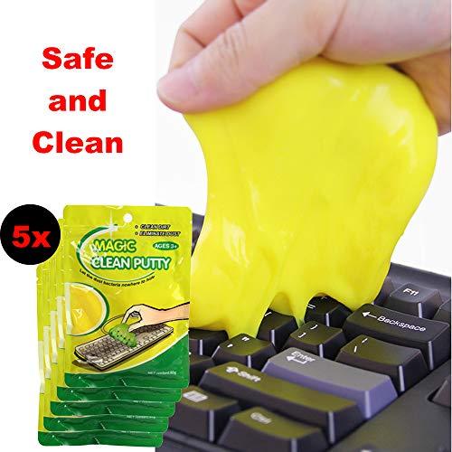 TWIKIK 5-Stück Magischer Tastatur-Reiniger Klebriges Gelkissen, entfernt Staub Sicher ohne Rückstände