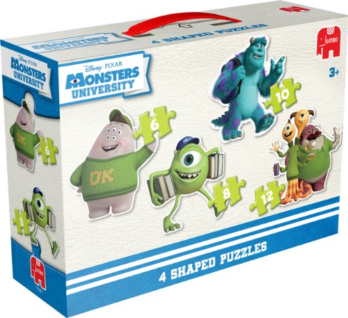 Jumbo 17351 - Disney Pixar - Monsters University - 4 in 1 Konturen-Puzzle, 6/8/10/12 Teile (Monster University Spielzeug)