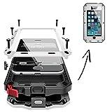 FINOO Coque de Protection étanche pour iPhone 6/6S Plus avec Alliage d'aluminium et Coque en métal Armor Case Cover en Verre Gorilla Glass Couleur Noir