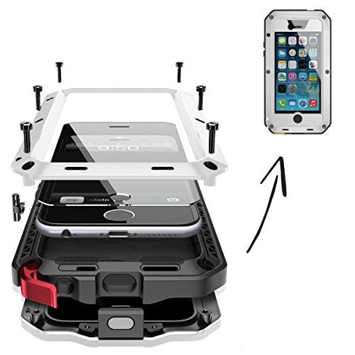 Finoo | wasserdichte Outdoor Handy Hülle für iPhone 6/6S mit Aluminium Legierung | Stoßfestes Robustes Metall Armor Case Cover | Panzer Hülle mit Gorilla Glas | Farbe weiß - Wasserdichte 6 Iphone Cover Handy