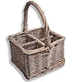 Homescapes Grey Willow Wicker Cutlery and Glass Divider Basket with Four Compartments and a Carry Handle