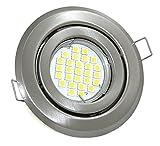 LED Einbaustrahler 230V GU10 Farbe Edelstahl gebürstet 5W Power LED Warmweiß 2700 Kelvin - 450 Lumen Set Einbaurahmen Spot energiesparend
