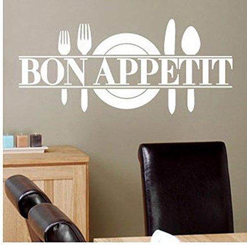 """ufengke® """"Bon Appetit"""" Couteau de Plaque et Fourchette Salle de Séjour Chambre À Coucher Autocollants Amovibles, Cuisine Salle À Manger Autocollants Amovibles, Blanc"""