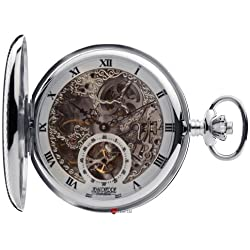 Silver Skeleton Pocket Watch Full Hunter 17 Jewelled Mechanical Movement