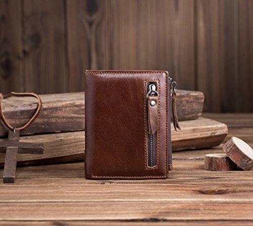 Herren Geldbörsen, Brieftaschen der Männer, der Vintage Männer Taschen, Leder, multifunktionale Reißverschluss Taschen, Männer, Kaffee Coffee