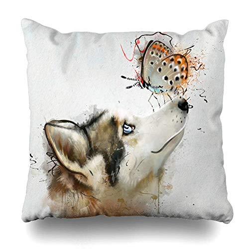 Klotr Decorative Kissenbezug Breed Blue Head Dog Butterfly On Nose Fly Closeup Butterflies Brown Alert Arctic Design Husky Home Decor Pillowcase Square Size 18 X 18 Inches Cushion Case -