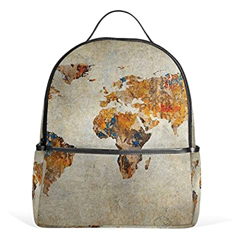 JSTEL Kids Backpack Children's Day Gift Grunge Map Of The