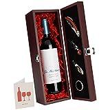 DKDS Collection Wein-Präsentbox aus Holz mit La Martinette Rotwein Bordeaux Supérieur und 4-teiligem Sommelier-Set (1 x 0.75 l)