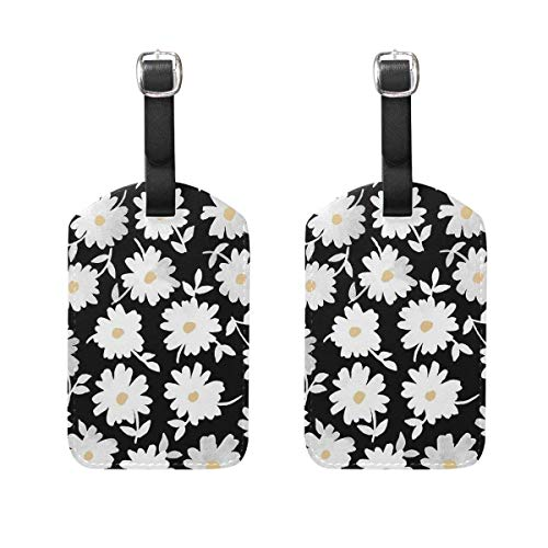 White Daisy Luggage Tag Travel ID Label Leather for Baggage Suitcase 2 Piece Set 00df4348 Guy White Hat