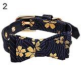 gfjhgkyu Blume gedruckt,weich,langlebig,einstellbar,bequem Japanische Blume gedruckt Bowknot einstellbar Kunstleder Katze Hundehalsband-2