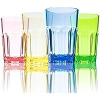 Urmelody resistente al vasos 290 ml de color acrílico vasos irrompible vasos reciclado copas de vino tritan inastillable plástico resistente dinkware de roturas de cristal conjunto de 4, Assorted Colors, 4 unidades