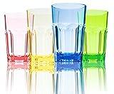 URMELODY 290 ml farbigen Bruchfest Tassen Acryl Trinken Gläser unzerbrechlich Tumbler recyceltem Tritan Weingläser bruchsicherer Kunststoff Gläser bruchfestem dinkware Set von 4, verschiedene Farben, 4er-Set