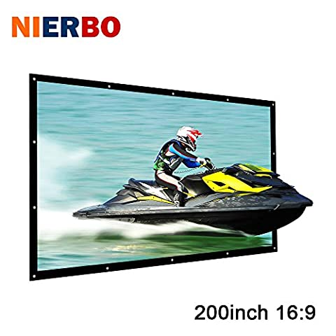 """NIERBO 200"""" Portable Moive Screen Projector Screen 16:9 450*256 cm Full HD 3D Home Theater Projection Screen Wall Mounted with Grommets"""