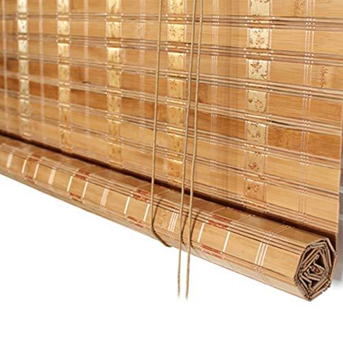Estores de bambú Cortinas enrollables de bambú de Color carbón con Cenefa, Cortinas oscuras, persianas enrollables para el Pasillo/Estudio/casa de té, Ancho 60-135cm (Tamaño : 60×150cm)