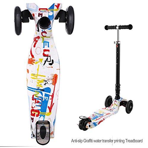 WeSkate Kinderscooter Kinder Roller höhenverstellbarer und Abnehmbarer Lenker Tret-Roller mit 4-PU Rollen Scooter Kinder ab 3 Jahren