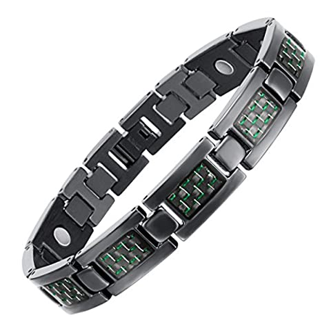 Rainso Mens Black Titanium Magnetic Bracelet With Green Carbon Fibre In Black Gift Bag + Free Link Removal Tool