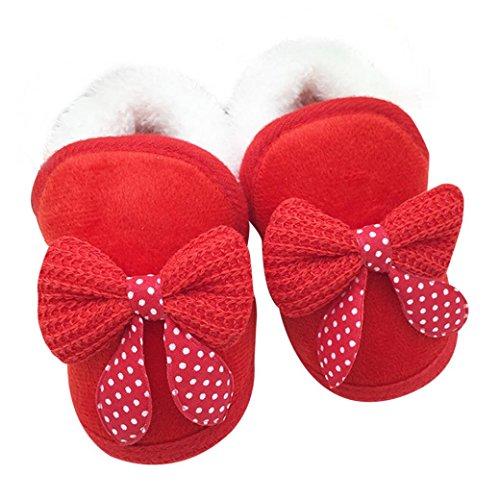 FEITONG Kleinkind Säugling Baby Bowknot Schuhe weiche Sohle Aufladungen Prewalker warme Schuhe (0 ~ 6 Monate, Rosa) Rot