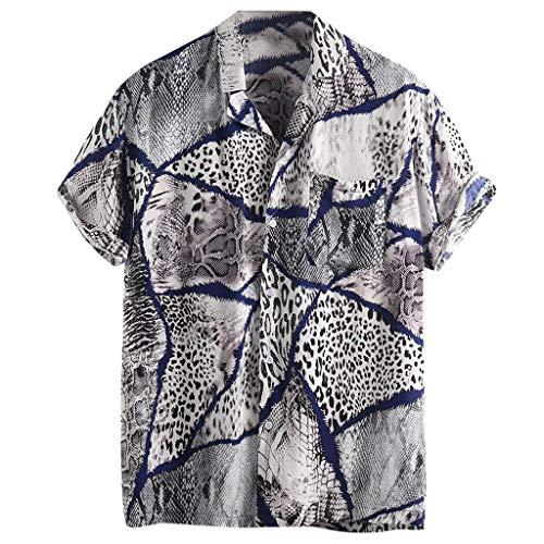 en Herren LäSsiges Hemd Aus Leinen Und Baumwolle Kurzarm Mit V-Ausschnitt Top Bluse Te Solide Sommer Thai Hippie Shirt Strand(Schwarz R,XXXL) ()