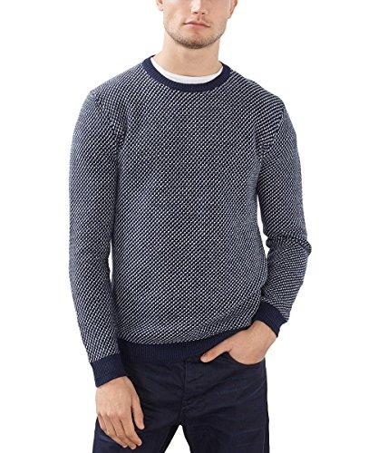 ESPRIT Herren Pullover Mit Wollanteil - Regular Fit Blau (Navy 400)