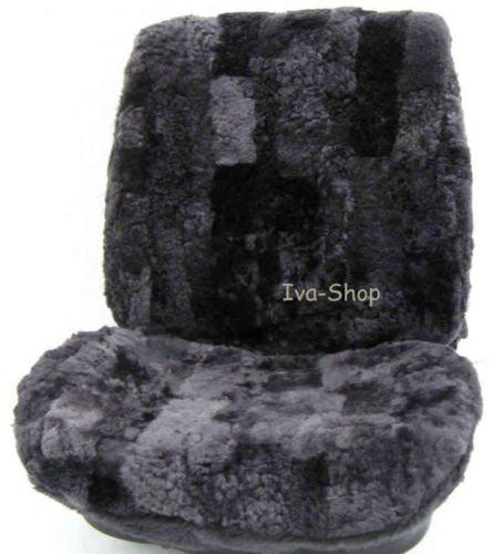 Rökü 2x echtFell LAMMFELL-Sitzbezug feste Wolle Lammfellbezug Schonbezug (Anthrazit) (Fusion Wolle)