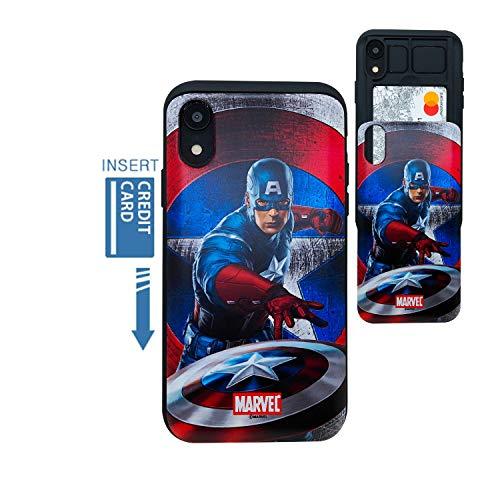 [iPhone XR Wallet Case] Kubrick Kartenhalter Slide Cover Bumper Handy Hülle Dual Layer Schutz Comics Super Hero UV Druck, Captain America, First Avenger -