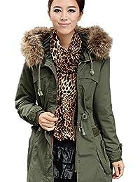 iBaste Abrigo Invierno Mujer con Pelo Capuchado Térmico Winter Coat Women Talla 36 38 40 42 44
