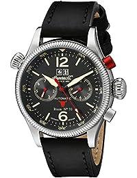 Ingersoll Unisex Automatik Uhr mit schwarzem Zifferblatt Analog-Anzeige und schwarz Lederband in3225bk