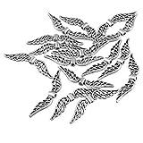 50pcs Engels Flügel Distanzscheiben Anhänger Tibetanischer Silberner 32mm