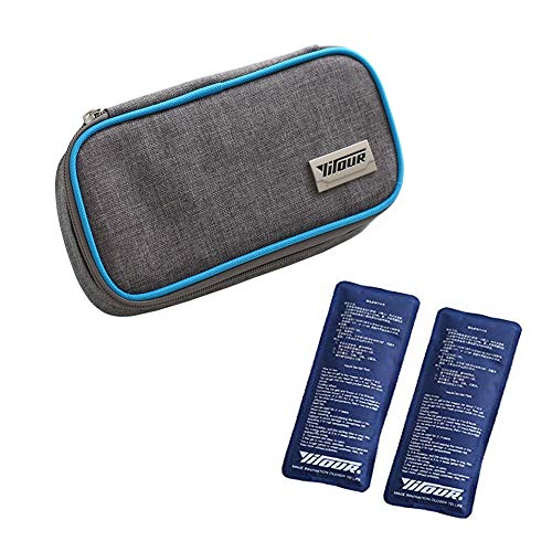 Insulin Kühltasche Diabetiker Organizer Tragbar Medikamente Kühler Tasche Insulin Cooler Bag Diabetikerzubehör with 2 Kühlakkus für Medikamente Thermotasche - 21 x 10 x 4.5 cm (Blau)