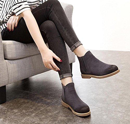 Frau im Frühjahr und Herbst Stiefel mit dicken Absatzschuhe in einer einzigen Runde Hülse Frau Stiefel Martin Stiefel weibliche Stiefel Grey