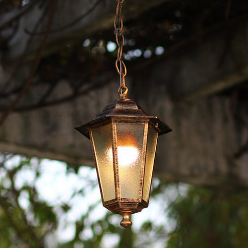 Pumpink Barn 1 Light Vintage sechseckigen Outdoor E27 LED Birne Pendelleuchte europäischen Retro wasserdichte Balkon Zimt Glas Pendelleuchte Terrasse Patio Kronleuchter für Veranda (Color : Bronze) -