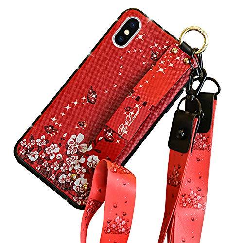Hpory Kompatibel mit iPhone XS Max Hülle, Handyhülle iPhone XS Max Glitzer Strass Muster TPU Silikon Schwarz Bumper Schale Case Cover Tasche Schutzhülle mit Fingerhalter Schlüsselband - Blume Rot