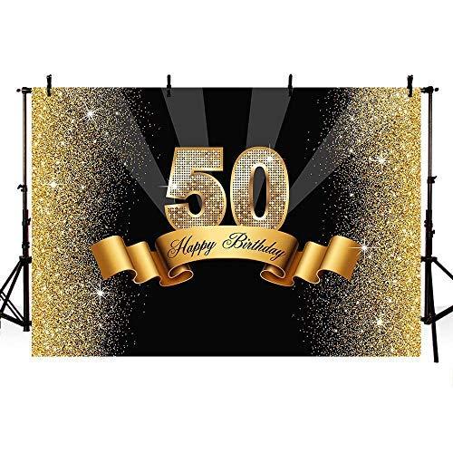 -Hintergrund mit glänzenden goldfarbenen Pailletten zum 50. Geburtstag Party Banner Hintergründe für Fotografie ()