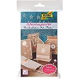 Folia Adventskalender Bastel-Set - Kraftpapier Natur 24 Geschenktüten/Beutel, 24 Hotfoil-Sticker & Kordel