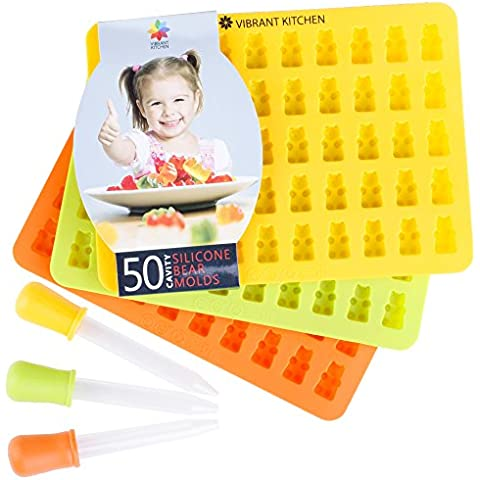 Gummy Bear Molds by Vibrant Kitchen BPA Free Silicone Mold For Gummie Chocolate Ice Cubes and Candy 3 Molds and 3 Droppers (Free eBook) by Vibrant