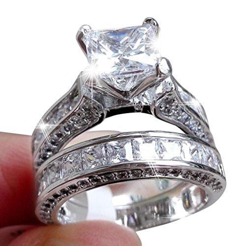 Ringe Für Damen Ring Damen Der Herr Der Ringe DAY.LIN 2-in-1 Womens Vintage White Diamond Silber Engagement Ehering Ring Set (US-Größe 6) (Fossil Gürtel Für Herren Schwarz)