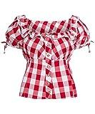 Tracht & Pracht - Damen 100% Baumwolle - Trachtenbluse - Bluse Karo Groß Rot - 48