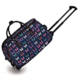 Trendstar Ladies Travel Bags HOLDALL Butterfly women hand luggage with wheels Trolley Weekend