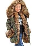 Aofur - Abrigo de Invierno con Capucha para niños y niñas con Piel de Faxu Verde Verde 12-13 Años