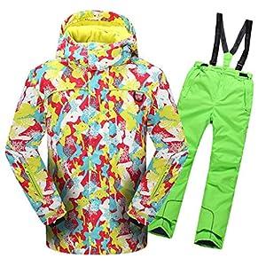 OMSLIFE Kinder Mädchen Outdoor Skianzug Skijacke Regenlatzhose Verdickung Skianzüge Kinder Schneeanzug Lang Jacket Wintermantel Skianzüge
