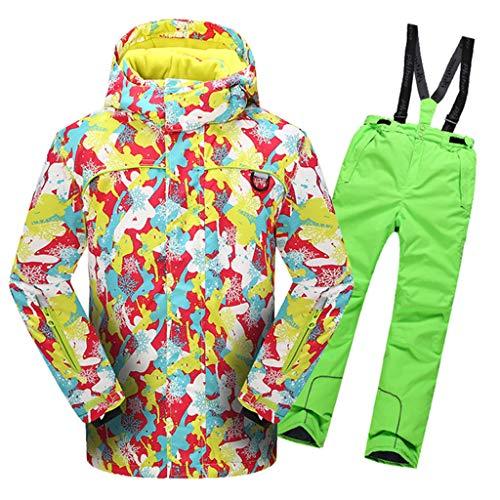OMSLIFE Kinder Mädchen Outdoor Skianzug Skijacke Regenlatzhose Verdickung Skianzüge Kinder Schneeanzug Lang Jacket Wintermantel Skianzüge (Grün, 110) |