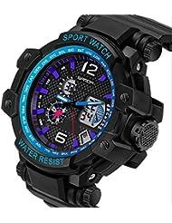 QBD Digital-Analog Chunky para hombre grande deportes reloj Digital con alarma Cronómetro Cronógrafo–50m a prueba de agua, sin caja de regalo de primera calidad de lujo (S azul)