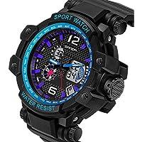 QBD digitale-analogico da uomo Chunky Oversize Sport Orologio Digitale con Allarme, Cronometro e cronografo, impermeabile fino a 50m, Scatola Regalo Inclusa (i blu)